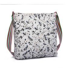 Ladies Canvas Flower  Printed Messenger Satchel Shoulder Cross Body Grey Bag