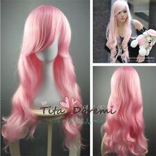 Halloween Wig Costume Woman Curly Pink Long Cosplay Heat Resistant Hair