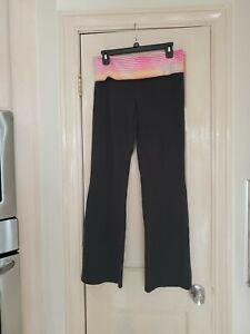 Victoria's Secret VS Pink Yoga Pants Size Large Black W/wide Band  Logo