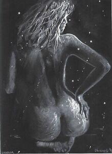 original drawing A4 658UV art samovar Pastel female nude modern Signed 2021