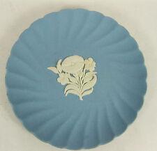 "Wedgewood Blue Jasperware 4-7/8"" Scalloped Fluted Trinket Pin Dish Plate Tray"