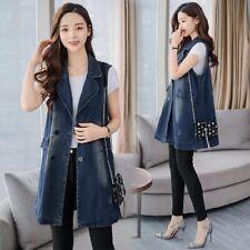 Women Vest Cowboy Denim Waistcoat Sleeveless Long Coat Jeans Jacket blue fashion