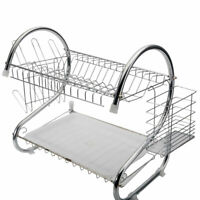 US White Multi-functional Two Tier Dish Rack Holder Bowls Organizer For Kitchen
