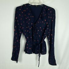 Rails M Medium Top Simone Wrap Front Metallic Cherry Print Blue Red Tie Blouse
