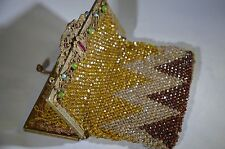 Antique Handmade Beaded Purse bag  Metal Frame Jeweled