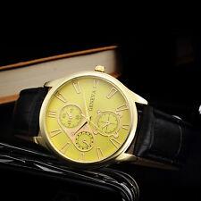 Luxury Men's Watch Date Stainless Steel Leather Band Analog Quartz Wrist Watch