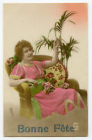 1920s Vintage BEAUTIFUL YOUNG LADY Relaxing Lady tinted photo postcard