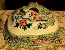 Gorgeous Antique Tureen Lid ~ Cheese Or Butter Cover ~ Asian Theme Late 1800s