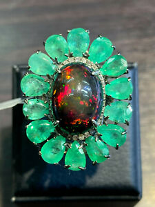 NATURAL BLACK OPAL 16X12 EMERALD NATURAL DIAMOND 30 PC.STERLING SILVER 925 RING