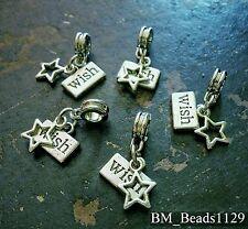 5PC Lot WISH Upon a STAR Word Tag Pendants European Dangle Bead Charms