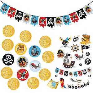 Piraten Party Kindergeburtstag Deko Set - Piraten Girlande + Tattoos + Konfetti