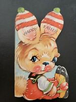 Vtg Gibson Easter Greeting Card Diecut Cute Bunny Rabbit hat on ears 40s,AS IS
