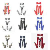 Adjustable Suspender and Bow Tie Set for Baby Toddler Boys Girls Children