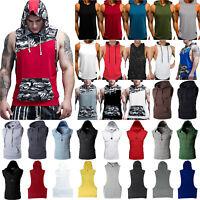 Men Muscle Hoodie Tank Top Bodybuilding Gym Workout Sleeveless Vest T shirt Coat