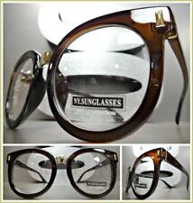OVERSIZED VINTAGE RETRO Style Clear Lens EYE GLASSES Brown & Gold Fashion Frame