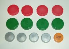 PLASTIC MILK BOTTLE TOPS x 66 ASSORTED COLOURS ART/CRAFTS/SCHOOL/HOME PROJECTS
