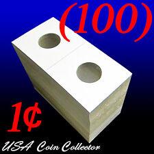 (100) Penny Size 2x2 Mylar Cardboard Coin Flips for Storage | 1 Cent Holder