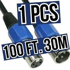 IlluminancePro 100 ft, 30 M, DMX Cable, Male To Female, Blue Locking XLRs,