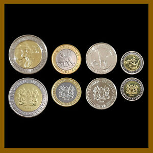 Kenya 1 5 10 20 Shillings (4 Pcs Coin Set), 2018 Animals Bimetallic Unc