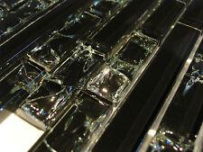Mosaïque Céramique Effet Verre mosaïque Noir Baguettes Format crush pansement