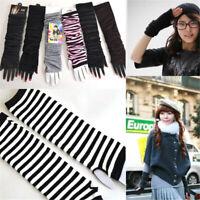 Women Long Knit Wrist Arm Sleeve Warmer Fingerless Gloves Warmer Mitten