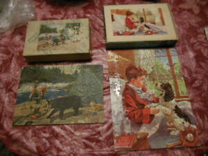 Vintage JK Straus Interlocking Wood Jigsaw Puzzles 100pc and 200 pieces