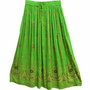 Damen Indisch Pailletten Knitter Zigeuner Langer Rock Boho Hippie Ethnisch Wrap