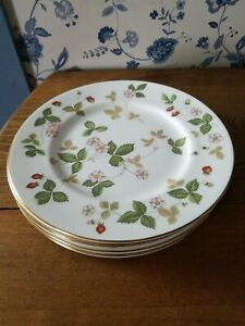 "6 Wedgwood Wild Strawberry 10 3/4"" Dinner Plates"