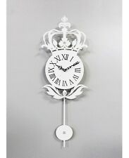 Antique Pendulum Crown Wall Clock Modern Design Home Interior Noiseless - White