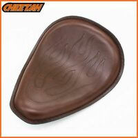 """Leather Retro Motorcycle 3"""" Solo Drive Seat For Harley Chopper Bobber Brown"""
