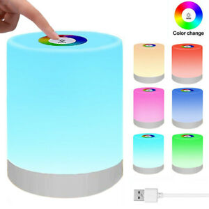 LED Night Light Color Change Dimmable Touch USB Rechargeable Bedside Table Lamp
