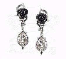 Alchemy Gothic Bacchanal Black Rose & Vine Swarovski Crystal Pewter Earrings