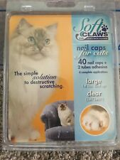 🐾Soft Claws Nail Caps for Cats Clear {Large} 14+Lbs 40ct {Brand New}🐾