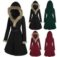 Womens Plus Size Faux Fur Coat Fashion Hooded Long Outerwear Casual Overcoat Top