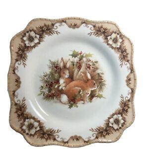 """Cracker Barrel Susan Winget Turkey Woodland Plate 8"""" Lot of 2 Holidays Easter"""