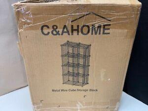 C & A Home Wire Storage 8 Cubes Metal Grids Bookshelf Stackable Organizer Black