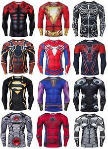 Mens Compression Superhero Top Base Layer Gym Long Sleeve Shirt Running Thermal
