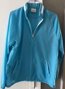 Vintage SEARS women's windbreaker jacket turquoise w hood size Medium Pre-Owned