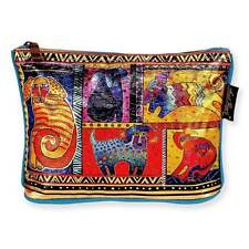 LAUREL BURCH-FOILED ZIPPERED COSMETIC BAG-DOG TAILS PATCHWORK-BRIGHT&GLOSSY NWT!