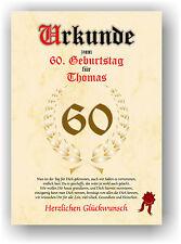 Urkunde zum 60. GEBURTSTAG Geschenkidee Geburtstagsurkunde Namensdruck Partydeko