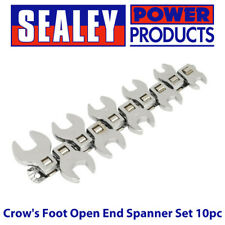 "Sealey S0866 Seigen Crow's Foot Open End Spanner Set 10pc 3/8""Sq Drive Metric"