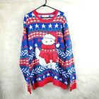 Jolly Sweaters Women's Top Size XXL Blue/Red Ugly Christmas Sweater Furry Cat