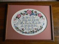 Framed Elsa Williams Crewel Rose Sampler Abc'S Jca 20x16 New Rare!