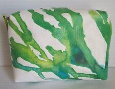 Creme de La Mer Logo Cosmetic Makeup Bag / Case White / Blue Green art