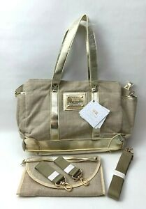 MB Krauss New York Luxurious Large Diaper Tote Maternity Travel Bag, Beige - NEW