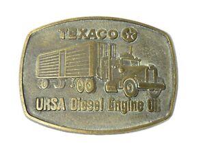 Vintage USA Advertising Pictorial Brass Belt Buckle Texaco URSA Diesel Engine