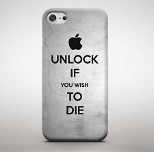 Unlock If You Wish To Die Quote Silver Angry Threat Meme Funny Phone Case Cover