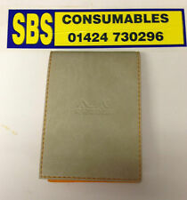 RHODIA POCKET NOTEBOOK WITH BEIGE LEATHERETTE COVER. LINED PAPER.115mm x 80mm