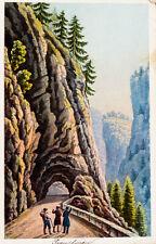 c1870 Schweiz Graubünden Via Mala Viamala Kolorierte Aquatinta-Ansicht Dikenmann