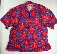 Terry Cycling Jersey 3XL XXXL Shirt Floral Design Short Sleeve Back Pockets
